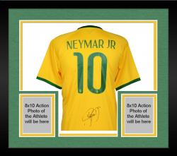 Framed Neymar Brazil National Team Autographed Yellow Jersey