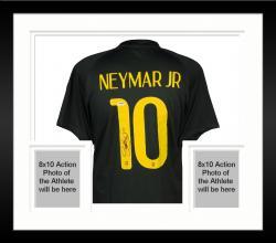 Framed Neymar Autographed Brazil Black Jersey