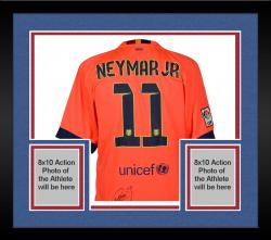Framed Neymar FC Barcelona Autographed Orange Jersey