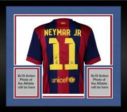 Framed Neymar FC Barcelona Autographed Red & Blue Jersey