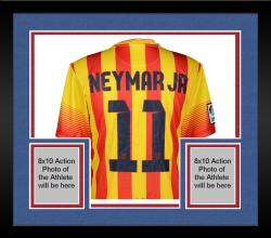 Framed Neymar FC Barcelona Autographed Red & Yellow Pinstripe Jersey