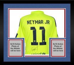 Framed Neymar Santos Autographed Barcelona FC Alternate Green Jersey