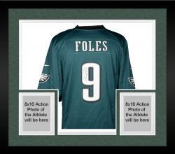 Framed Nick Foles Philadelphia Eagles Autographed Nike Game Green Jersey