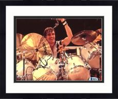"Framed Nicko McBrain Autographed 8"" x 10"" Iron Maiden Playing The Drums Photograph - Beckett COA"
