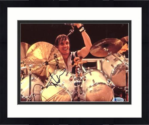 """Framed Nicko McBrain Autographed 8"""" x 10"""" Iron Maiden Playing The Drums Photograph - Beckett COA"""