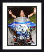 "Framed Nicko McBrain Autographed 8"" x 10"" Iron Maiden Sitting on Blue Motorcycle Photograph - Beckett COA"