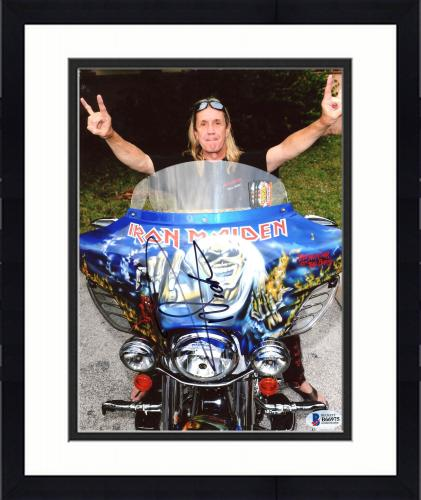 """Framed Nicko McBrain Autographed 8"""" x 10"""" Iron Maiden Sitting on Blue Motorcycle Photograph - Beckett COA"""