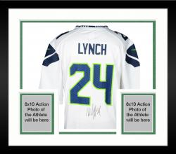 Framed Nike Marshawn Lynch Seattle Seahawks Super Bowl XLVIII Champions Autographed Replica Jersey - White