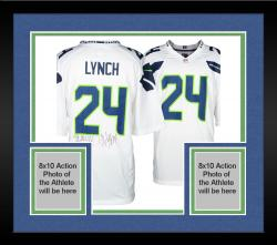 Framed Nike Marshawn Lynch Seattle Seahawks Super Bowl XLVIII Champions Autographed Replica Jersey with SB XLVIII Champs Inscription - White