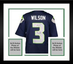 Framed Nike Russell Wilson Seattle Seahawks Super Bowl XLVIII Champions Autographed Elite Jersey with SB XLVIII Champs Inscription - College Navy