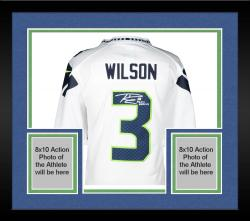 Framed Nike Russell Wilson Seattle Seahawks Super Bowl XLVIII Champions Autographed Limited Jersey with SB XLVIII Champs Inscription - White