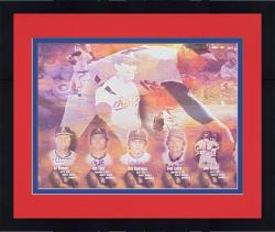 """Framed Nolan Ryan 7 No Hitters Commemorative Autographed 32.5"""" x  44"""" Lithograph Autographed by the 7 Catchers"""