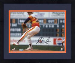 """Framed Nolan Ryan Houston Astros Autographed 8"""" x 10"""" Pitching with Leg in Air Photograph"""