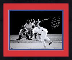 "Framed Nolan Ryan Texas Ragners Autographed 8"" x 10"" Black and White 5000th Strikeout Photograph with 5000th K 8/22/89 Inscription"