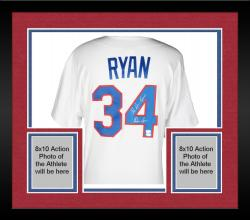Framed Nolan Ryan Texas Rangers Autographed 1993 Majestic Style Authentic Throwback White Jersey with The Ryan Express Inscription