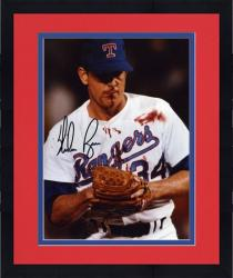 "Framed Nolan Ryan Texas Rangers Autographed 8"" x 10"" Blood Shot Black Ink Photograph"