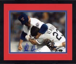 "Framed Nolan Ryan Texas Rangers Autographed 8"" x 10"" Robin Ventura Fight Photograph"
