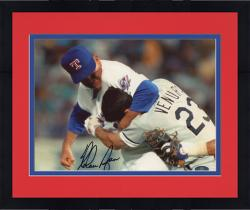 "Framed Nolan Ryan Texas Rangers Autographed 8"" x 10"" Ventura Fight Photograph Signed in Black Ink"