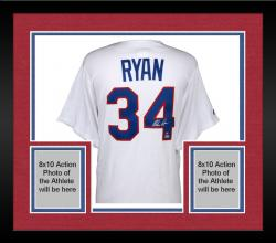 Framed Nolan Ryan Texas Rangers Autographed Majestic Replica Jersey