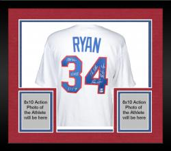 Framed Nolan Ryan Texas Rangers Autographed Majestic Replica Jersey with Multiple Inscriptions