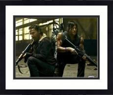 "Framed Norman Reedus Autographed 11"" x 14"" The Walking Dead Kneeling with Andrew Lincoln - PSA/DNA COA"