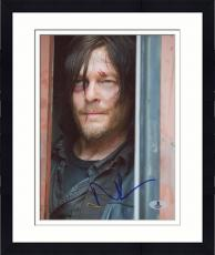 "Framed Norman Reedus Autographed 8"" x 10"" Close Up Photograph - Beckett COA"