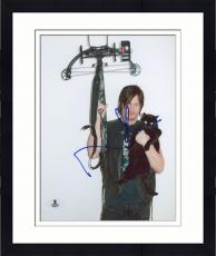 "Framed Norman Reedus Autographed 8"" x 10"" Holding Crossbow & Cat Photograph - Beckett COA"