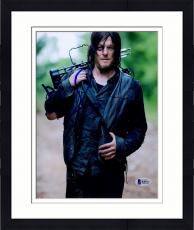 "Framed Norman Reedus Autographed 8"" x 10"" Holding Crossbow on Shoulder Photograph - Beckett COA"