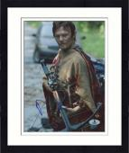 "Framed Norman Reedus Autographed 8"" x 10"" Holding Crossbow Photograph - Beckett COA"