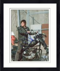 "Framed Norman Reedus Autographed 8"" x 10"" On Motorcycle Photograph - Beckett COA"