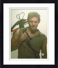 """Framed Norman Reedus Autographed 8"""" x 10"""" Posing with Crossbow Photograph - Beckett COA"""