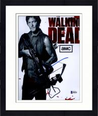 "Framed Norman Reedus Autographed 8"" x 10"" The Walking Dead Show Photograph - Beckett COA"