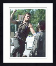 "Framed Norman Reedus Autographed 8"" x 10"" Walking Dead - Jumping at Zombie With Knife Photograph - Becket COA"