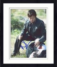 "Framed Norman Reedus Autographed 8"" x 10"" Walking Dead - Kneeling Over Zombie Photograph - Becket COA"