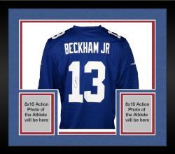 Framed Odell Beckham Jr. New York Giants Autographed Blue Nike Game Jersey