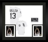 Framed Ozzie Guillen Autographed Chicago White Sox White Replica Pinstripe Jersey with World Series Patch