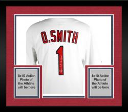 Framed Ozzie Smith St. Louis Cardinals Autographed Jersey with Wizard Inscription
