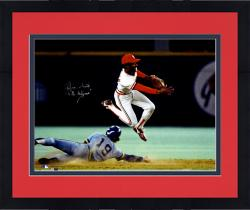 """Framed Ozzie Smith St. Louis Cardinals Autographed 16"""" x 20"""" Double Play Photograph with The Wizard of Oz Inscription"""