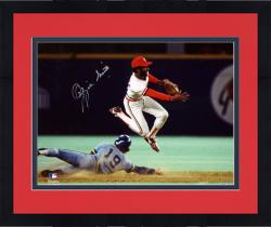 """Framed Ozzie Smith St. Louis Cardinals Autographed 8"""" x 10"""" Double Play In Air Photograph"""