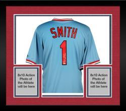 Framed Ozzie Smith St. Louis Cardinals Autographed Light Blue Jersey with HOF 2002 Inscription