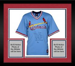 Framed Ozzie Smith St. Louis Cardinals Autographed Light Blue Jersey with Multiple Inscriptions-#2-23 of a Limited Edition #24