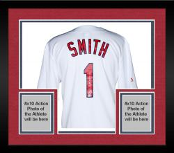 Framed Ozzie Smith St. Louis Cardinals Autographed White Jersey with HOF 2002 Inscription