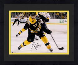 "Framed Patrice Bergeron Boston Bruins Autographed 16"" x 20"" Black Uniform Shooting Photograph"