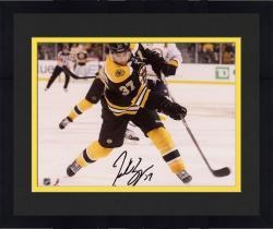 "Framed Patrice Bergeron Boston Bruins Autographed 8"" x 10"" Black Uniform Shooting Photograph"