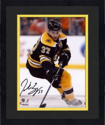 "Framed Patrice Bergeron Boston Bruins Autographed 8"" x 10"" Black Uniform Skating Photograph"