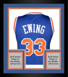 "Framed Patrick Ewing New York Knicks Autographed Blue Addidas Jersey with ""11x All Star"" Inscription Limited Edition of 11"
