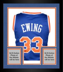"""Framed Patrick Ewing New York Knicks Autographed Blue Addidas Jersey with """"HOF 08"""" Inscription Limited Edition of 33"""
