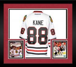 Framed Patrick Kane Chicago Blackhawks Autographed Reebok Premier White Jersey