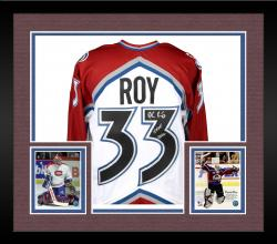 Framed Patrick Roy Colorado Avalanche Autographed White Jersey with HOF 2006 Inscription