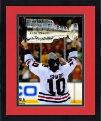 "Framed Patrick Sharp Chicago Blackhawks Autographed Raising Cup 16"" x 20"" Photograph with 2X SC Champs Inscription"